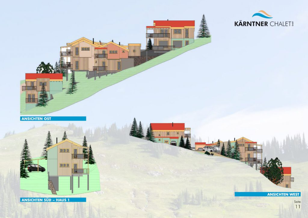 Ansichten 2 der Chalets in Kärnten am Klippitztörl zum Kaufen